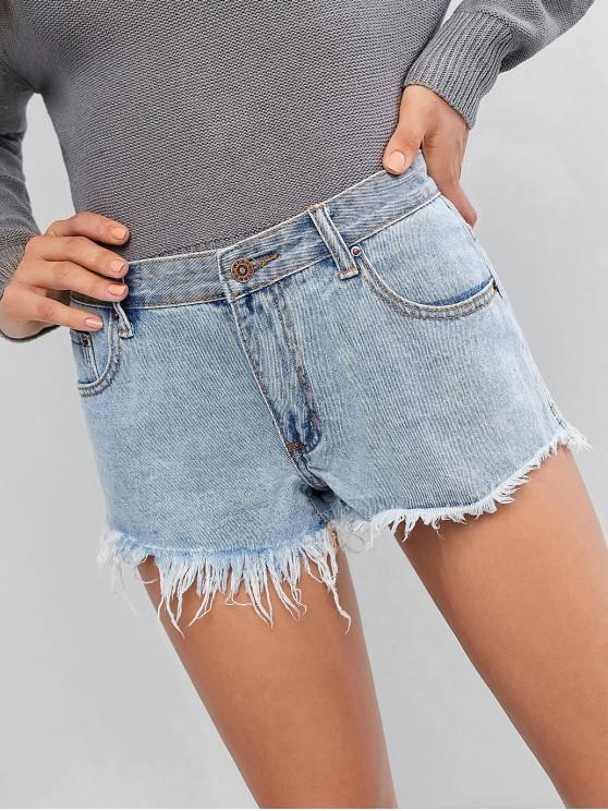 Cuff Off Mini Jean Shorts - Blu Denim L