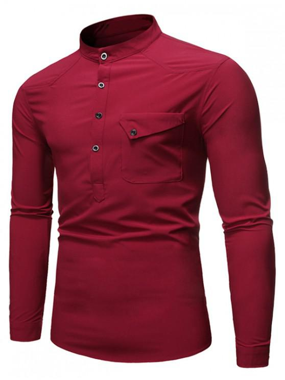latest Pocket Long Sleeve T-Shirt - RED WINE 2XL