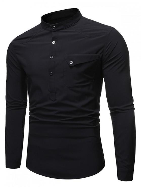 best Pocket Long Sleeve T-Shirt - BLACK XL