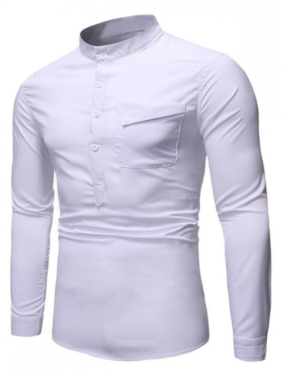 best Pocket Long Sleeve T-Shirt - WHITE 2XL