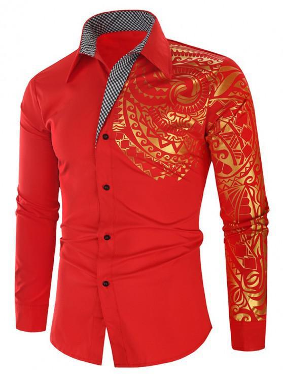 ladies Glitter Totem Pattern Plaid Print Long Sleeve Shirt - RUBY RED XL