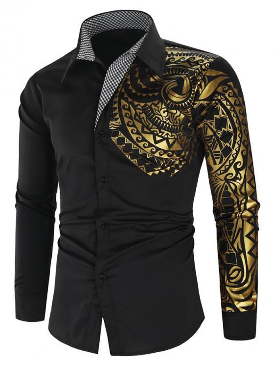 outfit Glitter Totem Pattern Plaid Print Long Sleeve Shirt - BLACK L