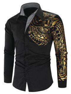 Glitter Totem Pattern Plaid Print Long Sleeve Shirt - Black M