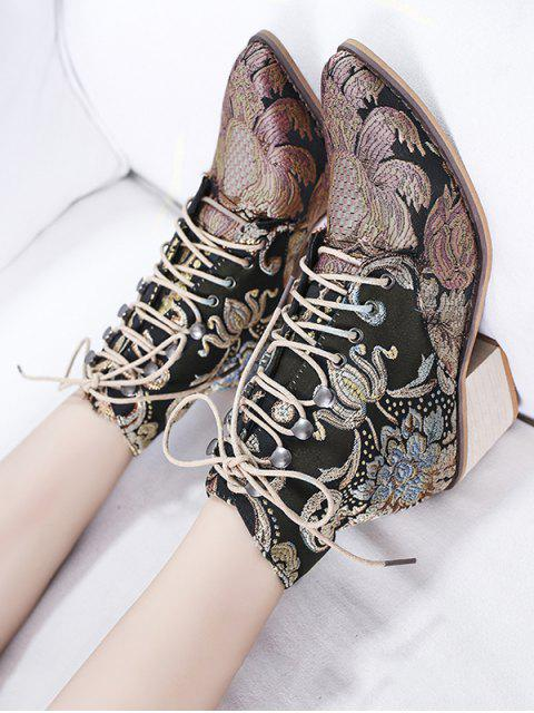 unique Flower Embroidery Lace Up Ankle Boots - ROSE GOLD EU 37 Mobile