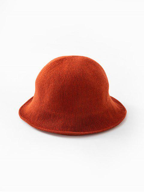 latest Solid Color Round Top Knitted Hat - RED  Mobile