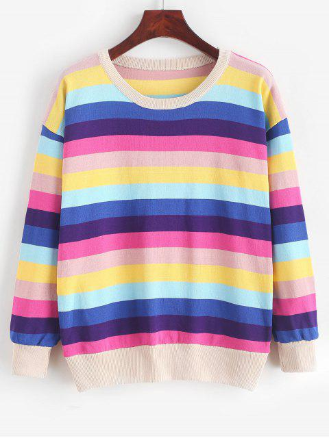 fashion Pullover Crew Neck Rainbow Stripes Sweater - MULTI-A ONE SIZE Mobile