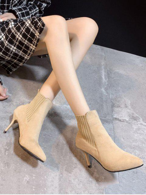 best Color Spliced Stiletto Heel Ankle Boots - APRICOT EU 39 Mobile