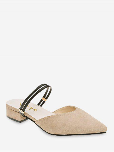 trendy Low Chunky Heel Pointed Toe Sandals - APRICOT EU 36 Mobile