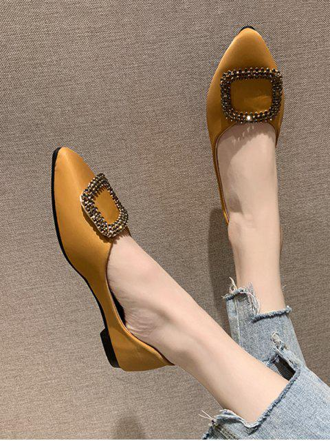 affordable Buckle Decorate Flat Heel Pointed Toe Casual Shoes - YELLOW EU 39 Mobile