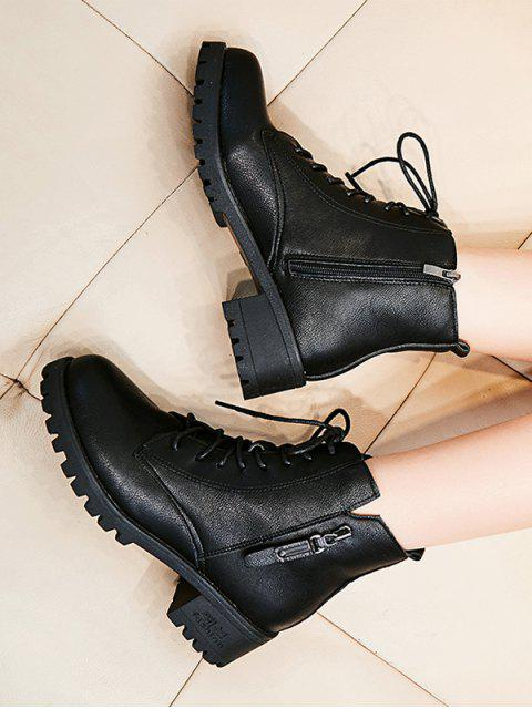 online Zip Accent Lace Up Ankle Boots - BLACK EU 38 Mobile