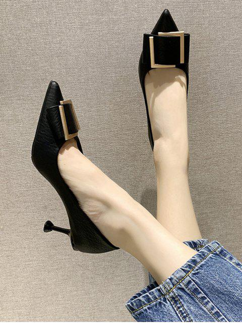 womens Simple Pointed Toe Buckle Decorated Pumps - BLACK EU 36 Mobile