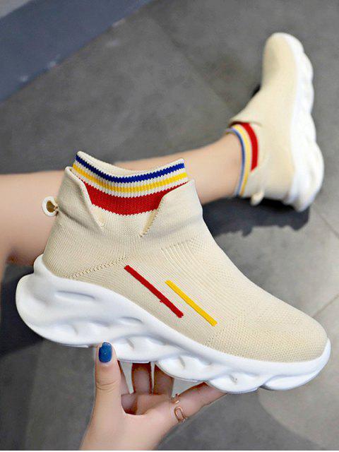 women Woven Striped Platform Sport Boots - BEIGE EU 39 Mobile