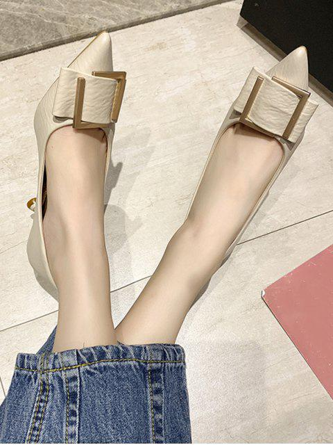 online Simple Pointed Toe Buckle Decorated Pumps - BEIGE EU 37 Mobile