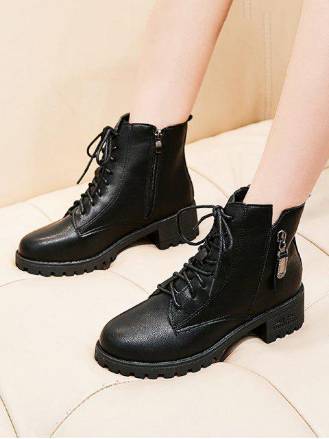 latest Zip Accent Lace Up Ankle Boots - BLACK EU 36 Mobile