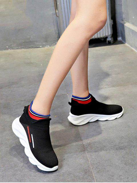 fashion Woven Striped Platform Sport Boots - BLACK EU 38 Mobile