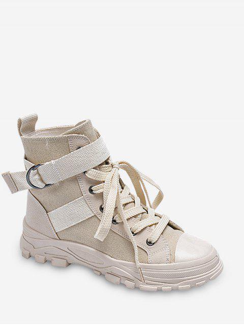 latest Buckle Lace-up Design Casual Boots - LIGHT KHAKI EU 37 Mobile