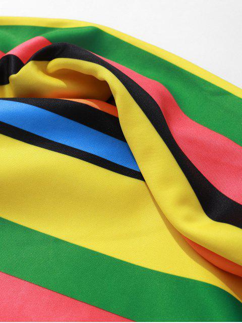 Sweat-shirt Décontracté Panneau en Blocs de Couleurs Imprimé à Rayure Latérale - Multi-B 2XL Mobile