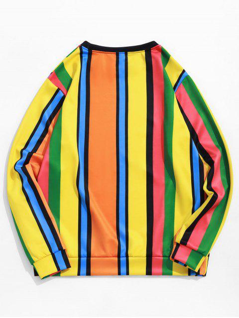 Sweat-shirt Décontracté Panneau en Blocs de Couleurs Imprimé à Rayure Latérale - Multi-B 3XL Mobile