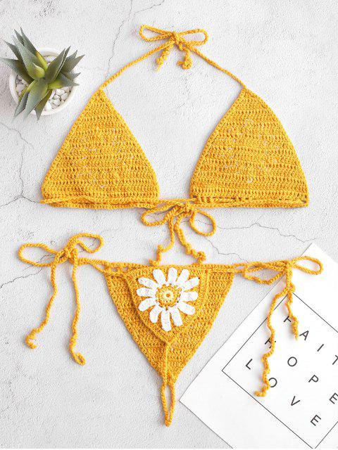 Maillot de bain Bikini Fleuri au Crochet à Col Halter - Brun Doré S Mobile