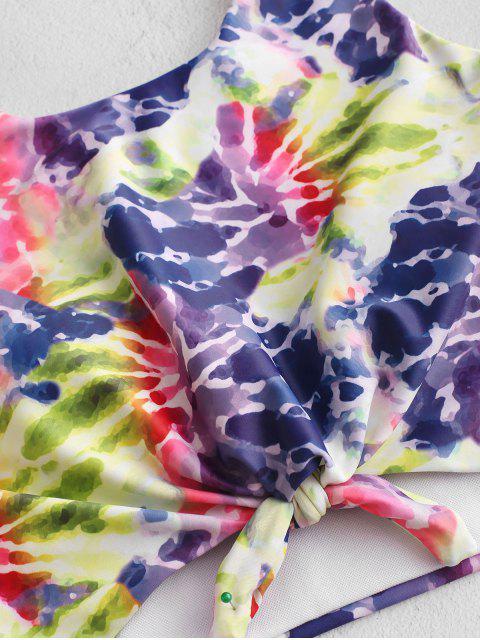 ZAFUL traje de baño Tankini fruncido anudado con efecto tie dye - Multicolor-A S Mobile