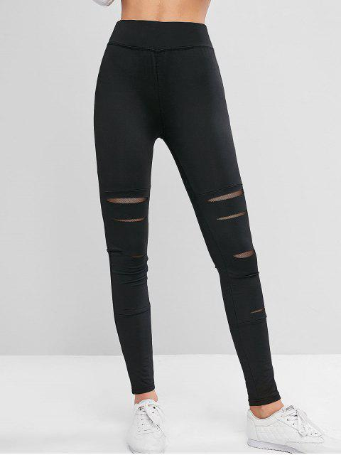 latest Ripped Mesh Panel High Waisted Gym Leggings - BLACK L Mobile