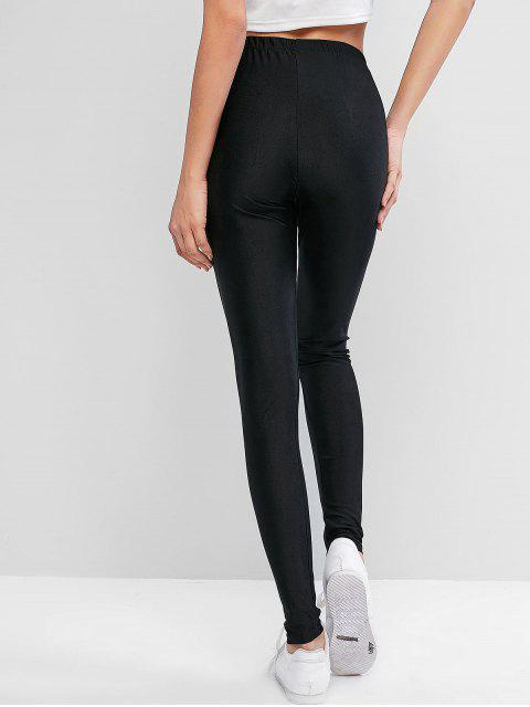 shops ZAFUL Sparkle Solid High Waisted Leggings - BLACK L Mobile
