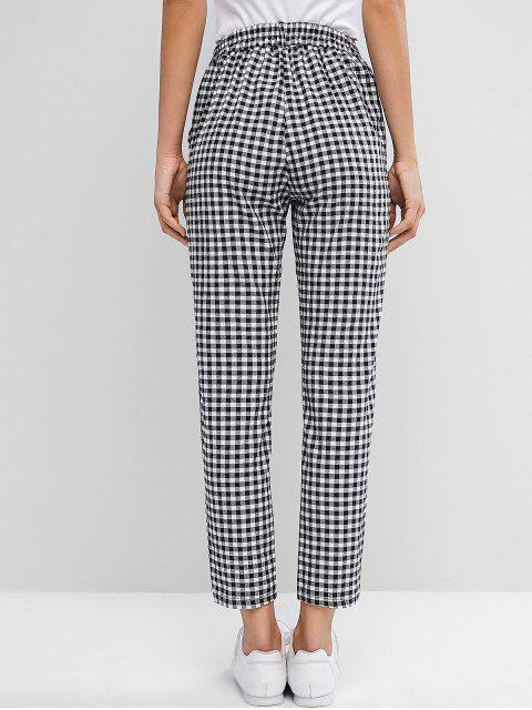 chic Plaid High Waisted Pocket Pencil Pants - MULTI-A S Mobile
