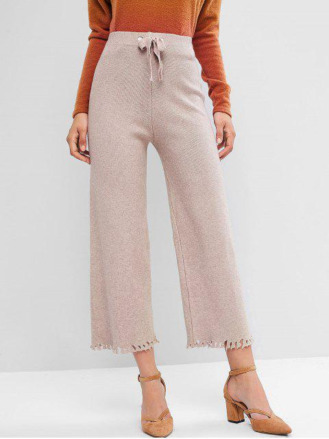 Pantalones anchos de pierna ancha con dobladillo desgarrado y cintura anudada - Caqui Claro Talla única Mobile