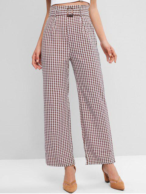 Pantalones anchos con cinturón a cuadros - Multicolor S Mobile