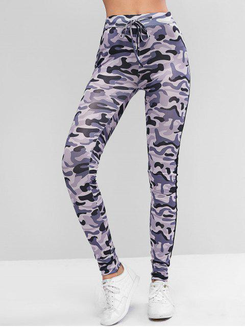 outfits Drawstring Camouflage Pull On Leggings - MULTI L Mobile