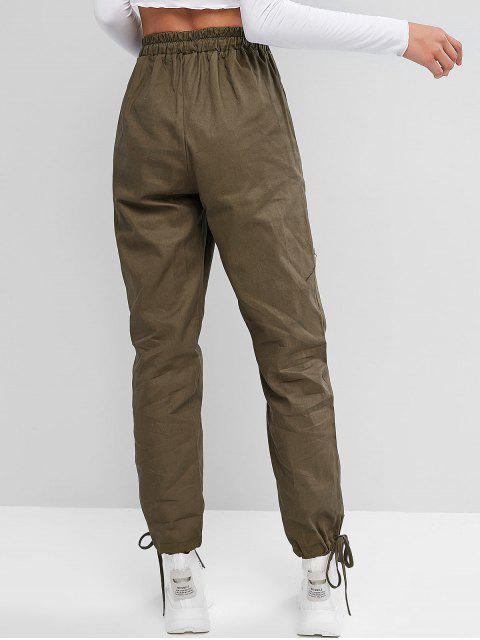 Puños con cordón de bolsillo Pantalones de cintura alta - Verde Marrón Claro S Mobile