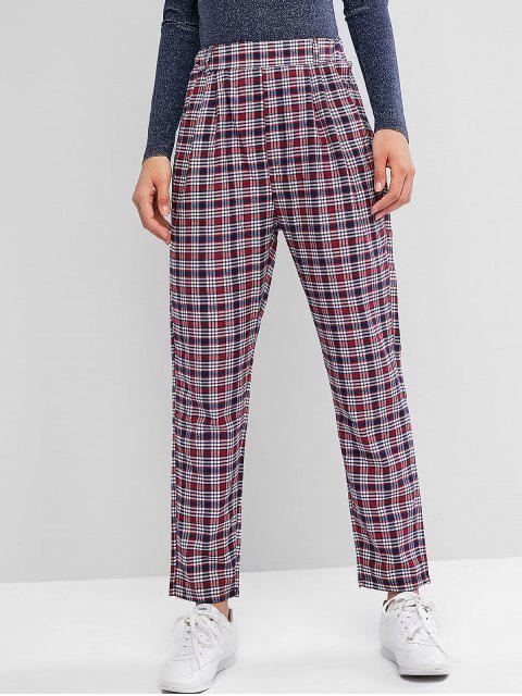 Pantalones rectos de bolsillos a cuadros de cintura alta - Multicolor XL Mobile