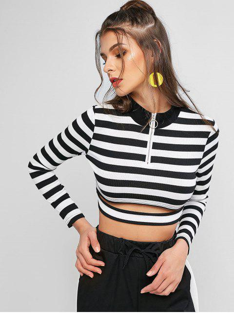 hot Quarter Zip Striped High Neck Ribbed Crop Tee - MULTI-A L Mobile