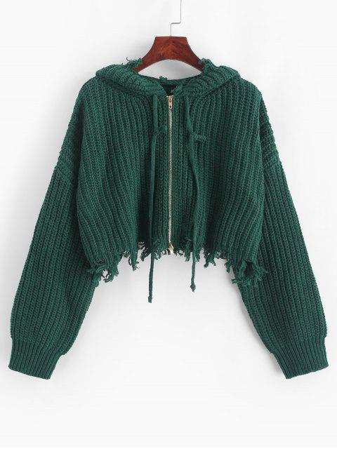women's ZAFUL Hooded Zip Up Distressed Cropped Cardigan - SEA GREEN M Mobile