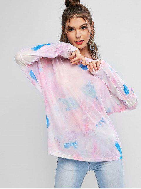 women's Batwing Tie Dye Sheer Mesh Tee - MULTI ONE SIZE Mobile