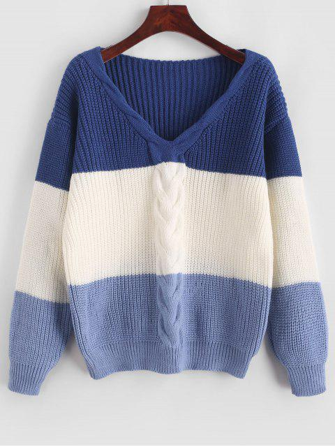 outfit ZAFUL Cable Knit Color Block Sweater - MULTI-A L Mobile