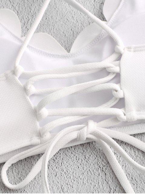 ZAFUL Haut de Bikini Texturé Festonné Croisé à Lacets - Blanc M Mobile