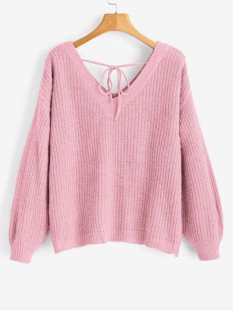 chic Drop Shoulder V Neck Oversized Sweater - PINK M Mobile