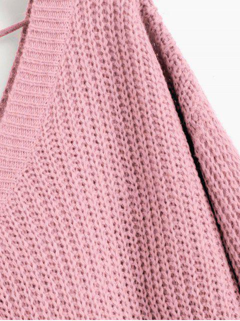 fancy Drop Shoulder V Neck Oversized Sweater - PINK L Mobile