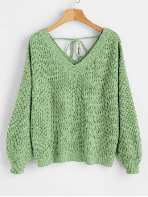 latest Drop Shoulder V Neck Oversized Sweater - MINT GREEN S Mobile