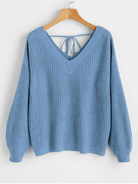 shops Drop Shoulder V Neck Oversized Sweater - BLUE S Mobile