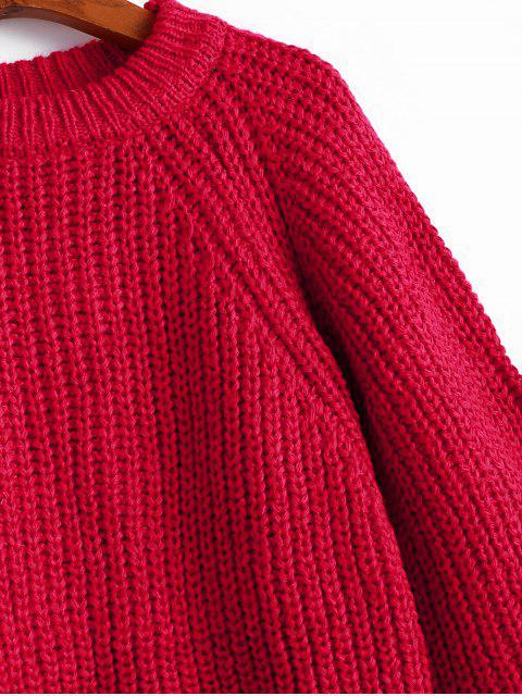 Maglione Pullover Sciolto con Spacco Sul Retro e Maniche Raglan con Spacco Posteriore - Rosso Taglia unica Mobile