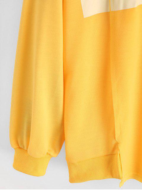 Sudadera con Capucha de Hombro Caído y Estampado de Letras - Amarillo Brillante S Mobile