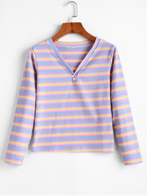 hot Two Buttoned Rainbow Stripes Ribbed Tee - MULTI-A ONE SIZE Mobile