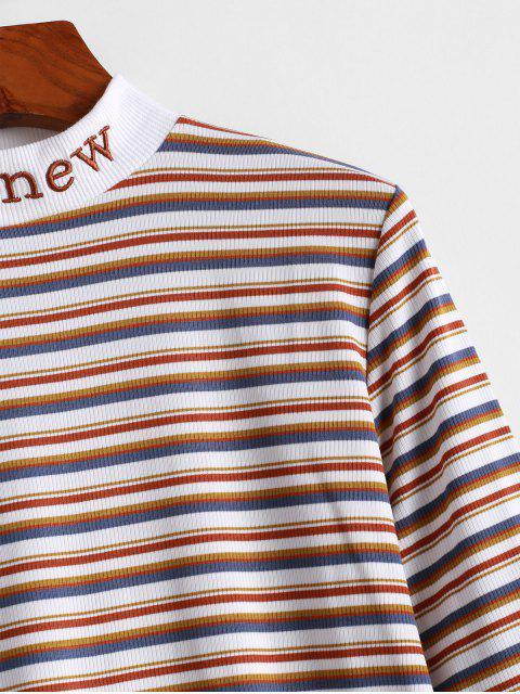 T-Shirt Rayé Côtelé Brodé à Col Montant - Multi-A 2XL Mobile