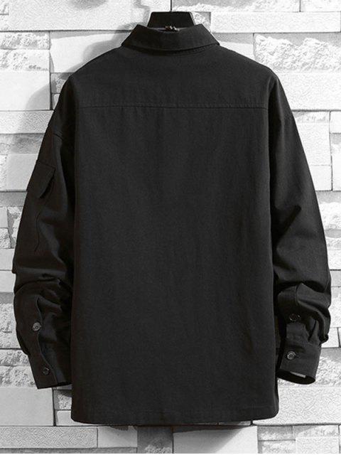 CamisaconManga LargayMulti-botónde Color Sólido - Negro L Mobile