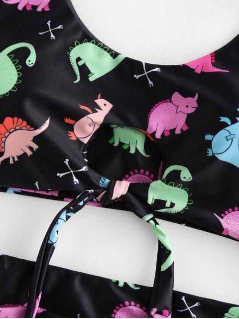 ZAFUL dinosaurio ojo de la cerradura atado de Control de Abdomen Tankini del traje de baño - Multicolor-A S Mobile