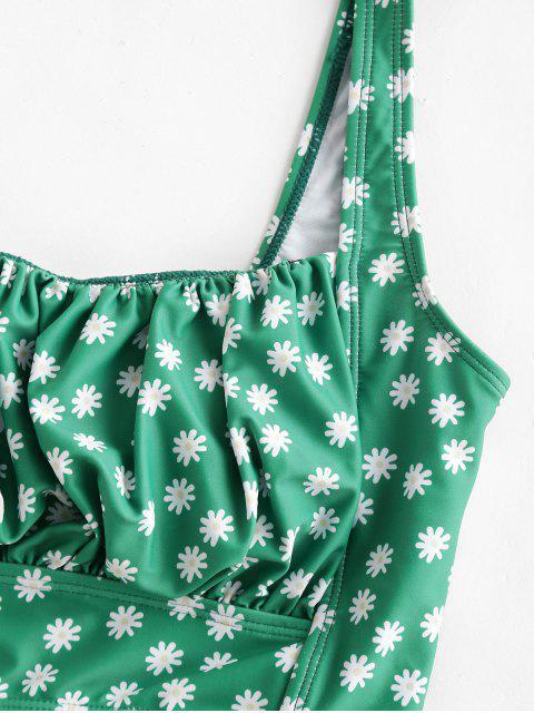ZAFUL Ditsy impresión del cuello del cuadrado de alta Pierna de Tankini del traje de baño - Multicolor-A XL Mobile