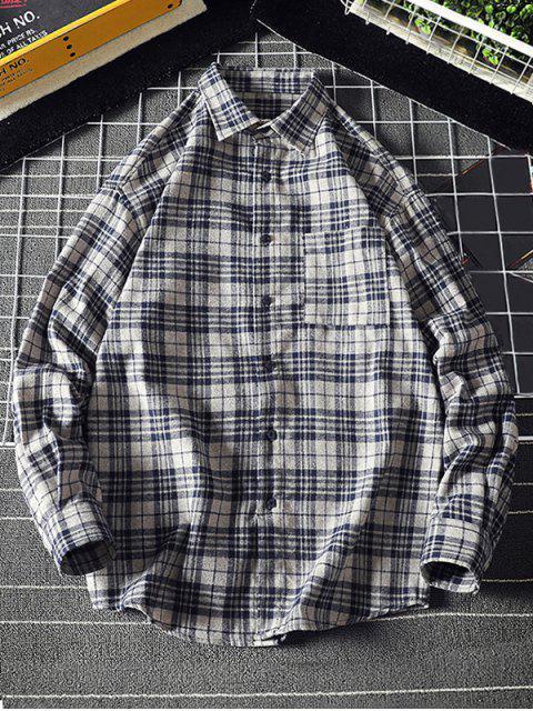 A cuadros bolsillo en el pecho curvo Hem camisa casual - Gris M Mobile
