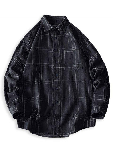 outfit Plaid Chest Pocket Curved Hem Button Up Shirt - BLACK L Mobile